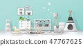 Interior background with modern baby room 47767625