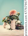 Vase with beautiful chrysanthemum flowers on light table 47767907