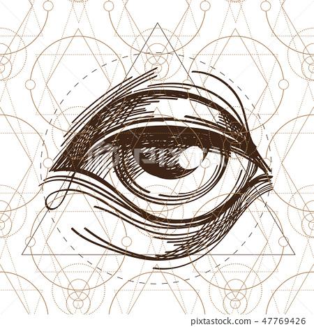 Hand drawn sketch Eye of Providence. All seeing eye. 47769426