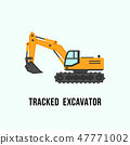 Tracked yellow excavator icon. Construction equipment illustration 47771002