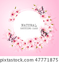 Spring nature background with pink flowers 47771875