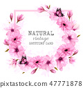 Natural vintage greeting card with pink flowers 47771878
