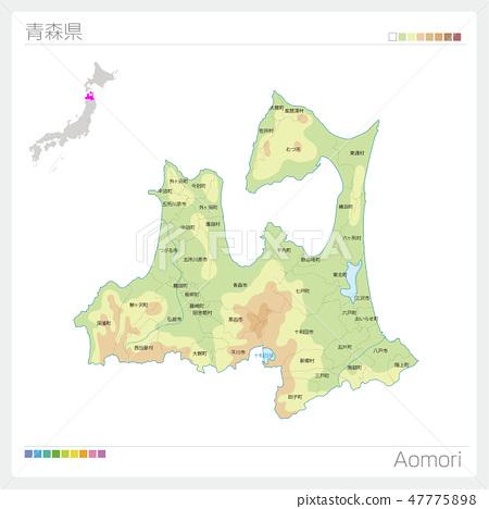 青森縣地圖(等高線·顏色編碼·市町村·區) 47775898