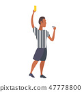 man professional soccer referee showing yellow card to player football match african american 47778800