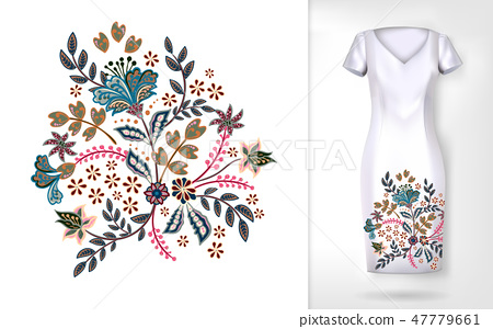 Embroidery colorful trend floral pattern. Vector traditional ornamental flowers pattern on dress 47779661