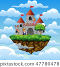 Cartoon prince and princess in front a castle 47780478