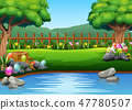 Easter eggs on the beautiful park with nature 47780507