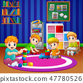 Children playing with toys in playroom 47780526