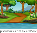 A beautiful green nature landscape background 47780547