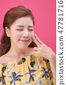 젊은여성, 여자, 스킨 케어,뷰티, 한국인 47781716