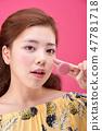 젊은여성, 여자, 스킨 케어,뷰티, 한국인 47781718