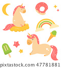 Set of Cute magical unicorns with bright elements 47781881