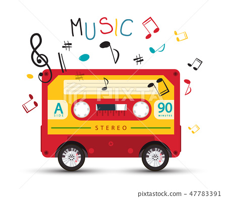 Funky Music Design with Retro Red Audio Cassette 47783391