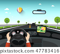 Car with GPS Navigation on Road.  47783416