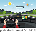 Driving Car Vector Illustration with Hills 47783419
