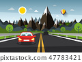 Mountain Landscape with Cars on Highway Road 47783421