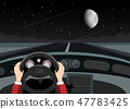 Driving Car on Night with Empty Road, Stars 47783425