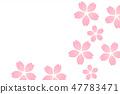 벚꽃 눈보라 배경 핑크 워터 마크 47783471