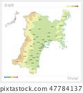 宫城县地图(等高线·颜色编码·自治市·区) 47784137