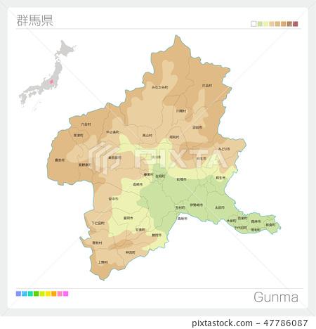 群馬縣地圖(等高線·顏色編碼·自治市·區) 47786087