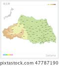แผนที่ของจังหวัดไซตะมะ (เส้นชั้นความสูง·รหัสสี·เทศบาล·ส่วน) 47787190