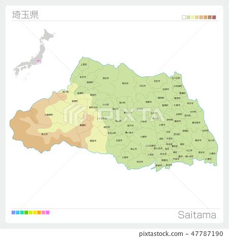 Map of Saitama prefecture (contour line · color coding · municipalities · division) 47787190