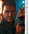 Digital Painting in Cover Style of Action Man holding Weapon 47787261