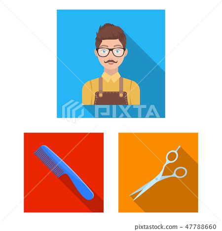 Barbershop and equipment flat icons in set collection for design. Haircut and shave vector symbol 47788660