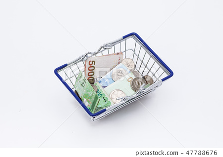 Shopping basket with coins and korean won bills  47788676