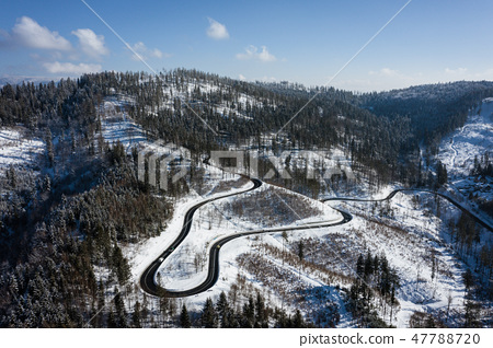 Curvy windy road in snow covered forest, top down 47788720