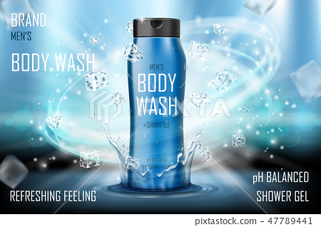Cooling men s body wash gel with splashing water and ice cubes elements. Realistic body wash ad for 47789441