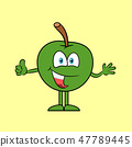 Happy apple with thumb up 47789445