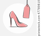 pink female shoe and pink price label 47789810