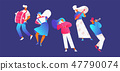 Vector set with street musicians playing music. 47790074