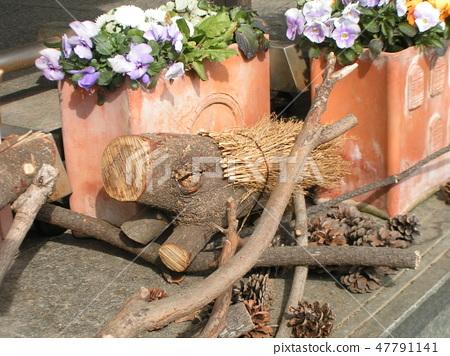 나무 멧돼지 오브제 47791141