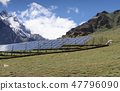 Field with rows of blue solar panels in India 47796090