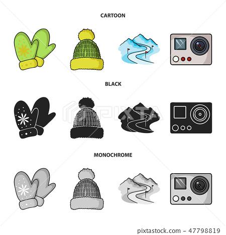 Mittens, warm hat, ski piste, motion camera. Ski resort set collection icons in cartoon,black 47798819