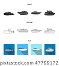 A military submarine, a speedboat, a pleasure boat and a spirit boat.Ships and water transport set 47799172
