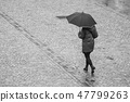 woman with umbrella on cobbles place  47799263