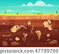 Dinosaurs skeletons bones in soil layers vector 47799700