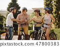 Group of sporty friends having fun outdoors. 47800383