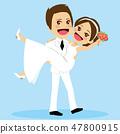 Just Married Groom Carrying Bride 47800915