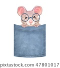 Cute mouse on pocket 47801017