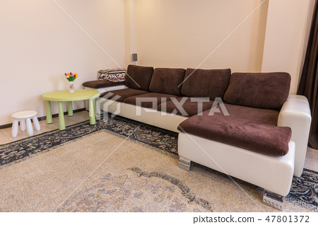 Interior living room, large sofa table and stool 47801372