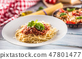 Close up italian pasta spaghetti bolognese in white plate 47801477
