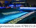 冬天的田邊節的豐田河照明(千葉縣茂原市)2019年2月拍攝的照片 47801516