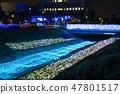 冬天的田邊節的豐田河照明(千葉縣茂原市)2019年2月拍攝的照片 47801517