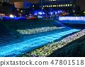 冬天的田邊節的豐田河照明(千葉縣茂原市)2019年2月拍攝的照片 47801518