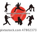Baseball player's silhouette 1 47802373
