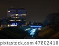 冬天的田邊節的豐田河照明(千葉縣茂原市)2019年2月拍攝的照片 47802418